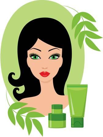Bella giovane donna con un set di cosmetici.