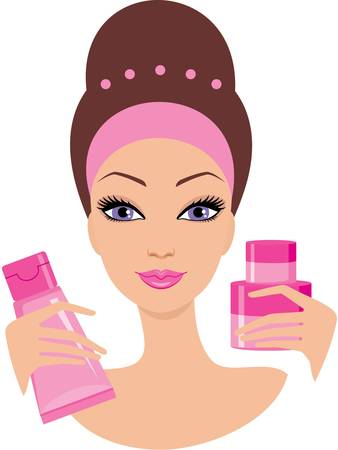 Beautiful young woman with a cosmetics set. Vector