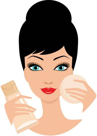 apply: Beautiful young woman with foundation cream. Illustration