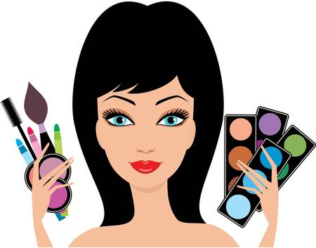 Young beautiful woman with decorative cosmetics in hands. Vector
