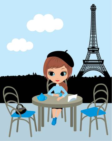 Pretty girl in the Parisian cafe.  Vector