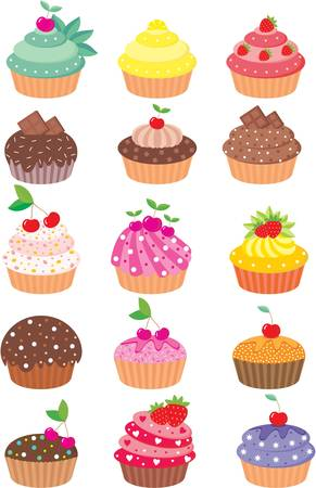 Cupcakes. color full, no gradient Vector