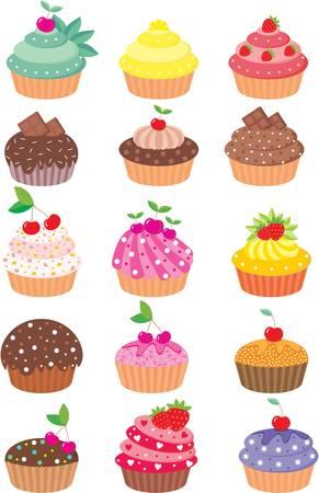 Cupcakes. színes megtelt, gradiens