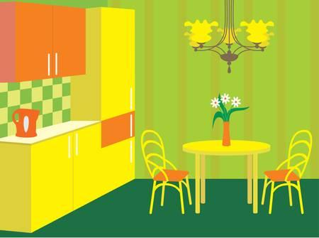Meble kuchenne. Wnętrze. nie gradient, kolor pełny