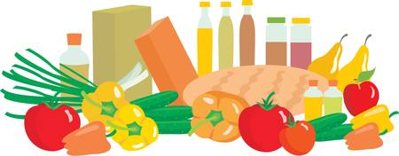 grocer: Products. no gradient, color full Illustration
