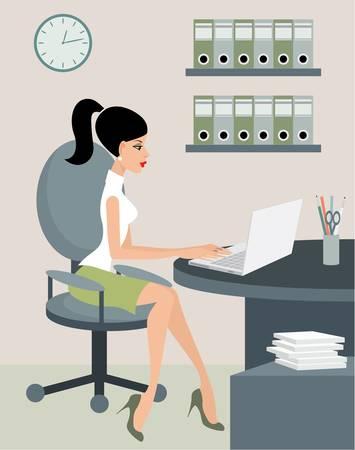 офис: Секретарь в офисе. Иллюстрация