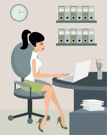 green office: Secretary at office. Illustration