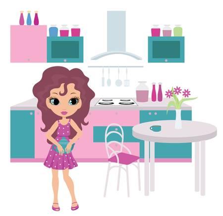 Cartoon dziewczyna w kuchni ponosi czajnik.