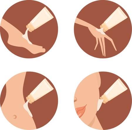 tratamiento facial: Iconos de cosm�ticos.