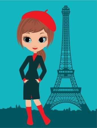 Hübsches Mädchen in der Pariser. Vektorgrafik