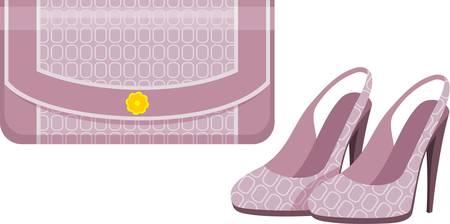 purse: Female bag and shoes. Illustration