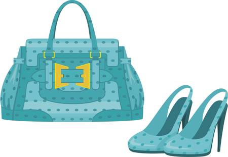 womens: Female bag and shoes. Illustration