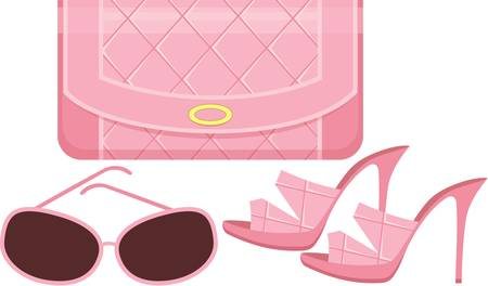 Female bag, shoes and sun glasses.  Vector