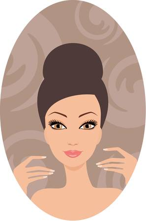 Beautiful woman. French manicure.  Vector