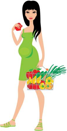 eats: Pregnant woman buys fruit and eats an apple Illustration