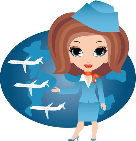 attendant: Stewardess cartoon Illustration
