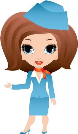 air hostess: Stewardess cartoon Illustration