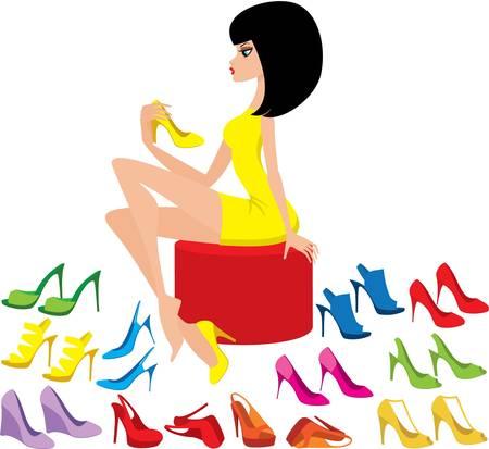 zapatos azules: Mujer joven intenta en los zapatos