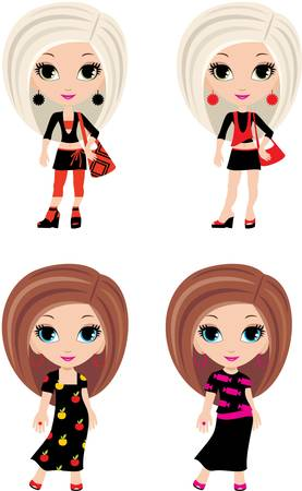 Four girls cartoon Stock Vector - 10945362