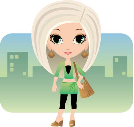 Cartoon woman in a city Illustration