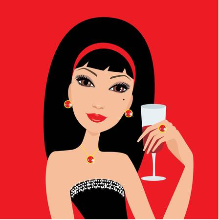 glass of red wine: Beautiful woman with a wine glass Illustration