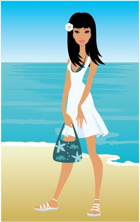 Young woman on a beach Stock Vector - 10945372