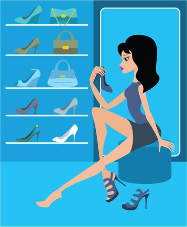 Shop of female footwear Stock Vector - 11113016