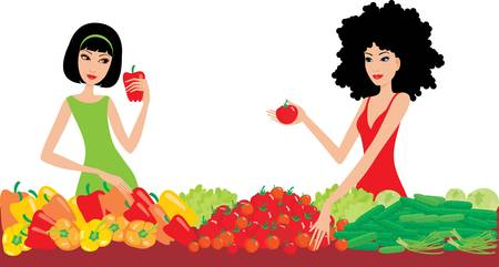 choose person: Two women buy vegetables