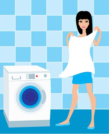 laundry machine: Young woman holds the washed linen Illustration