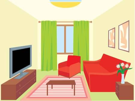 red couch: Soggiorno Vettoriali