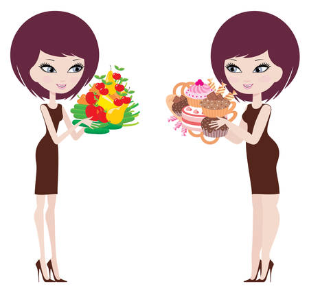 dinnertime: Two women thick and thin Illustration