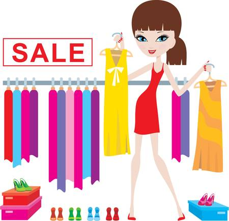 shopper: Junge Frau auf Kleidung und Schuhe kaufen