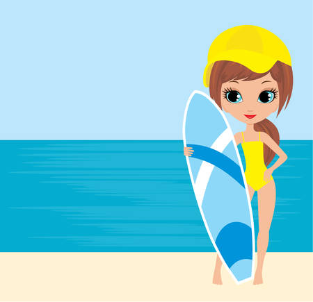 surfboards: Pretty girl with a surfboard Illustration