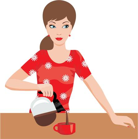 coffee pot: Woman on kitchen pours coffee