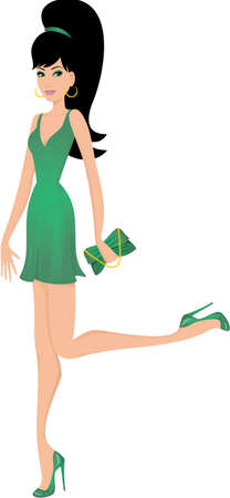 high heels woman: Woman in green dress Illustration