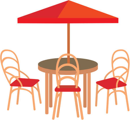 patio furniture: Summer street cafe Illustration
