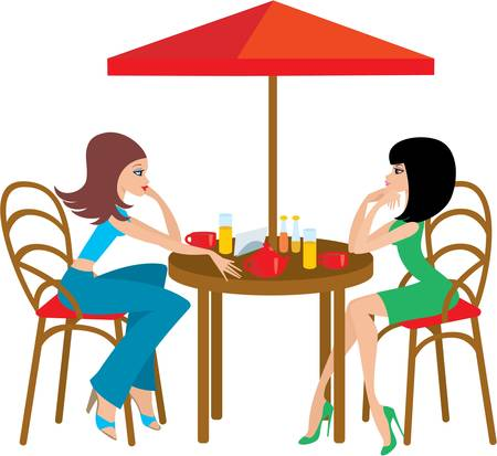 two women talking: Two young woman in cafe