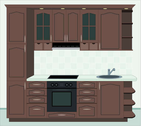 Kitchen furniture. Interior of kitchen Vector
