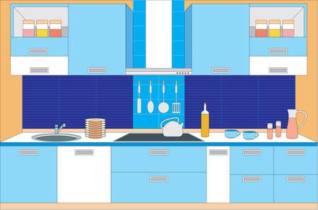 modern kitchen: Kitchen furniture. Interior