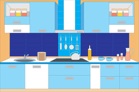 Kitchen furniture. Interior Stock Vector - 11113142
