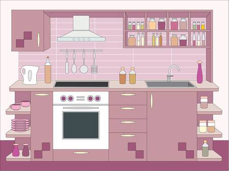 Kitchen furniture. Inter Stock Vector - 11113160