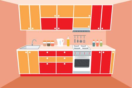 Kitchen furniture. Interior Stock Vector - 11113154