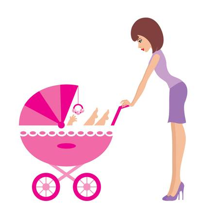 baby care: Mother with a carriage Illustration