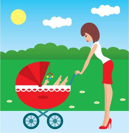 Mother walks with the child in a carriage Vector