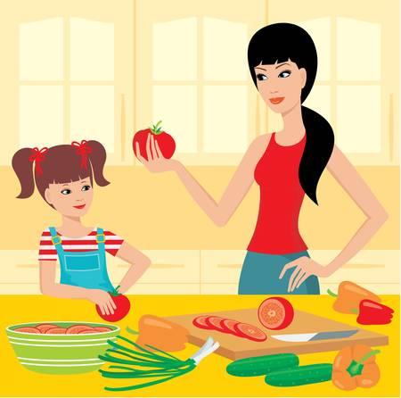 Anyu megtanulja a lányát, hogy készítsen Illusztráció