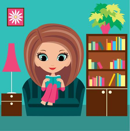 young woman sitting: Girl cartoon reads the book on a sofa