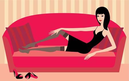 Beautiful woman lies on a sofa Vector