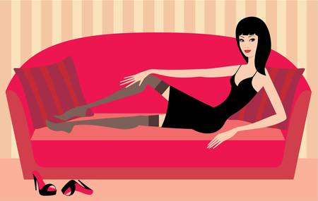 night dress: Beautiful woman lies on a sofa