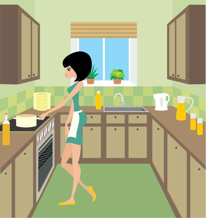 housework: Young woman on kitchen Illustration