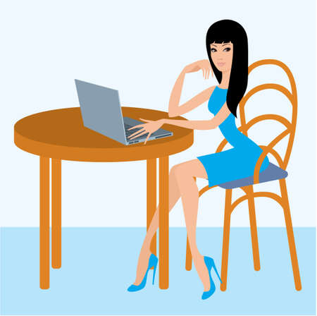 Young woman with the laptop in cafe Stock Vector - 11113135